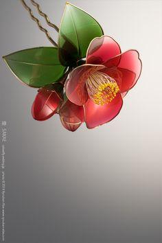 """""""Kanzashi"""" the Japanese ornamental hairpin; Camellia 2015 by Sakae 榮 - Japan's…"""