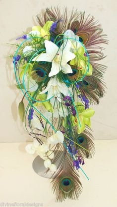 BRIDE BOUQUET - PEACOCK FEATHER ORCHID & LILY IN IVORY, GREEN & BLUE | eBay