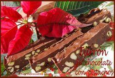 Turrón de chocolate con pistachos