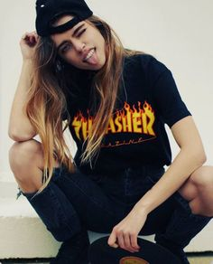 everything but the thrasher t-shirt. But another graphic or a band tee in the same style yes please. Especially with the backwards cap Androgynous Fashion, Tomboy Fashion, Grunge Fashion, Girl Fashion, Fashion Outfits, Skater Girl Style, Skater Girl Outfits, Skater Girls, Cowgirl Style Outfits