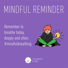 Remember to breathe today, deeply and often. Remember to breathe today, deeply and often. Mindfulness Meditation, Guided Meditation, School Guidance Counselor, Lifestyle Fotografie, Yoga, Mental Health Matters, Words Worth, Mindful Living, Stress Management