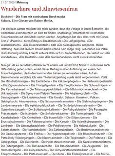 Wanderhure und Almwiesenfrau Buchtitel – Die Frau mit exotischem Beruf macht Schule. Eine Glosse von Rainer Moritz (2005): http://www.boersenblatt.net/92987/