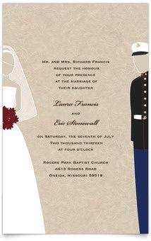 Flat Rectangle Wedding Invitations Military Themed Marines Usmc