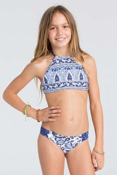 Girls Penny Paisley Halter Crop Top Swimwear Set Billabong USThis pretty print reverses to solid for a top. The high neck bikini top is our pick for stay-put.Little Tween Girls Swimwear Bikinis - Bing imagesTween Swimsuits & Swimwear Cover-UpsGirls' Swimsuits For Tweens, Kids Swimwear, Cute Swimsuits, Justice Swimsuits, Billabong Girls, Little Girl Bikini, Preteen Girls Fashion, Tween Girls, Curvy Fashion