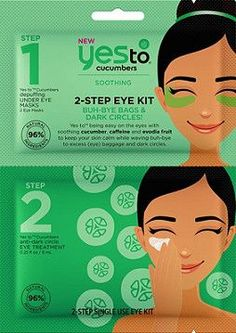 Say Yes To the Cucumber 2 Step Mask and being easy on the eyes with soothing cucumber, caffeine and evodia fruit to keep your skin calm while waving buh-bye to excess (eye) baggage and dark circles. Dry Eyes Causes, Coco Nucifera, Under Eye Mask, Eyes Problems, Jojoba, Cellulite Scrub, Eye Treatment, Puffy Eyes, Orange Makeup