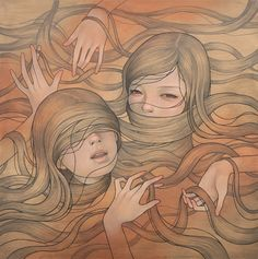 Audrey Kawasaki's girls drowning in their own hair - sort of pretty and scary at the same time