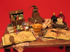 Collector Miniature 1:12 Scale Sorcerer's Wizards Cluttered Table--l like the books & melted candle
