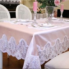 Home Accessories Kitchen Shabby Chic - Pink Embroidery Lace Shabby Chic Tablecloth. Shabby Chic Tablecloth, Shabby Chic Dining, Shabby Chic Living Room, Shabby Chic Bedrooms, Shabby Chic Kitchen, Shabby Chic Homes, Shabby Chic Furniture, Shabby Cottage, Painted Furniture