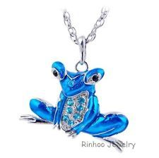Unique Jewelry - New Jewelry Blue Frog Animal Pendant Necklace Silver Women Sweater Chain