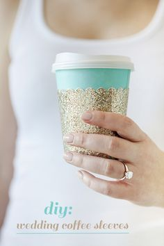 Cute and adorable DIY coffee sleeve to start off your wedding day in style.