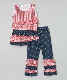 Look what I found on #zulily! Red Ruffle Tank & Navy Polka Dot Pants - Infant, Toddler & Girls #zulilyfinds
