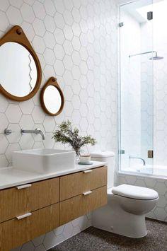 carrelages revetement mural blanc meuble vasque bois mobilier suspendu