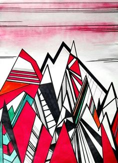 Red mountains landscape painting geometric art modern home decor black ink artwork A3 home decor living room decor - Higher by Caerys Walsh Mountain Paintings, Black Decor, Mountain Landscape, Geometric Art, Original Artwork, Original Paintings, A3, Landscape Paintings, Living Room Decor