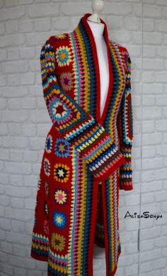 Items similar to Crochet coat Jacket Granny square coat Female cardigan Scarf Handmade coat Fashion design Autumn coat Boho coat Red coat Winter crochet coat on Etsy Point Granny Au Crochet, Crochet Jacket Pattern, Crochet Cardigan Pattern, Crochet Shawl, Crochet Patterns, Boho Crochet, Pull Crochet, Crochet Fashion, Granny Square Sweater