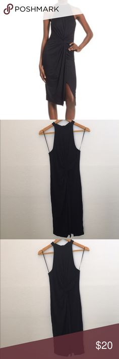 """{Nordstrom} ASTR High Neck Front Twist Front Dress An elegant front-twist detail adds graceful drape to a party-ready midi dress detailed with a halter-style neckline and a leg-flaunting split-front skirt. - 42 1/2"""" length (size Medium) - Back keyhole with hook-and-bar closure - High neck - Sleeveless - 94% rayon, 6% spandex - Dry clean astr Dresses"""