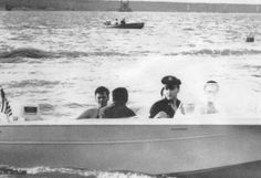 Elvis and friends on his new boat , here in Memphis in july 8  1960.