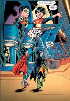 Superboy and Robin take their relationship to the next level. Batman Y Superman, Marvel Dc Comics, Damian Wayne, Super Sons, Hq Dc, Avatar Cartoon, Hq Marvel, Univers Dc, Dc Memes