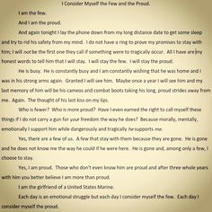 Beautifully written. Anyone who loves a Marine can relate to this.