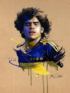 Diego Maradona of Boca Juniors wallpaper. God Of Football, Football Art, World Football, Maradona Tattoo, Soccer Drawing, Sports Drawings, Diego Armando, Jr Art, Basketball Art