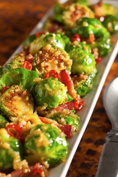 Baco & Brussel Sprouts by nytimes: Adapted from the Fatty 'Cue restaurant in Brooklyn, this is a recipe that matches the flavors of southeast Asia to ones of New England Sweet, smoky, fiery, crisp, soft — it's a dish that could become a new Thanksgiving tradition, or just spice up a meal on a blustery evening. #Brussel_Sprouts #Bacon #GF