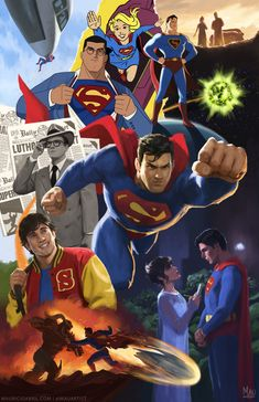 """mauricioabril: """"""""Mythologies: Superman"""" - My tribute to the mythology of the man of steel himself! I wanted to do something that encapsulated the character's history, but I knew it would've been impossible to represent even half of the most important. Dc Comics Superheroes, Dc Comics Art, Marvel Dc Comics, Artwork Superman, Superman Wallpaper, Superman Man Of Steel, Batman And Superman, Superman Facts, New 52"""
