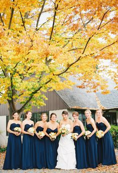 Matching navy blue bridesmaid dresses, strapless, autumn bridal party // Katie Stoops Photography