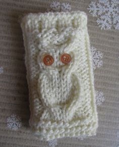 White Snowy Owl iPod / iPhone case hand knit by Polar1Butterfly, $11.00