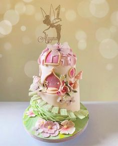 Adorable little fairy house cake Fairy Birthday Cake, Baby Girl Birthday Cake, Baby Girl Cakes, First Birthday Cakes, Pink Birthday, Fairy House Cake, Gateau Baby Shower, Fairy Cakes, Disney Cakes