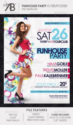 Funhouse Party Flyer Poster — Photoshop PSD #poster #tehno • Available here → https://graphicriver.net/item/funhouse-party-flyer-poster/1969697?ref=pxcr