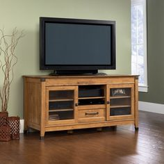 Sauder Registry Row TV Credenza in Amber Pine Finish - traditional - home electronics - by Cymax Media Furniture, Living Room Furniture, Furniture Ideas, Living Rooms, Gaming Furniture, Chest Furniture, Furniture Showroom, Apartment Furniture, Cool Tv Stands