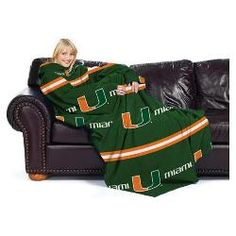 """Miami Hurricanes NCAA Adult """"Stripes"""" Comfy Throw Blanket with Sleeves"""