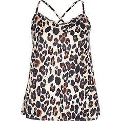 Beige leopard print cross back cami top £10.00