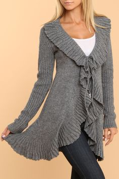 Mystree Pleat Ruffle Sweater Cardigan In Heather Gray - Beyond the Rack
