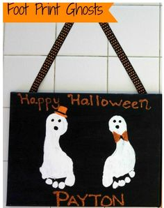 Footprint Ghost Halloween Kids Keepsake  Super easy and you'll love it for years to come!