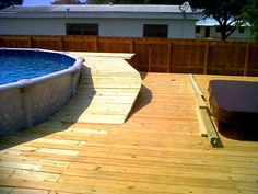 Do you need some inspiration for pool deck designs? 20 awesome above ground pools with decks, showcasing the myriad shapes and styles available on a budget. Above Ground Pool Landscaping, Above Ground Pool Decks, In Ground Pools, Pool Landscape Design, Patio Design, Pools For Small Yards, Cheap Pool, Swimming Pool Decks, Pool Steps