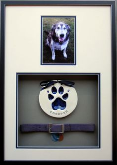 Wonderful Images Dog Collars memorial ideas Thoughts The most important components of your dog's layette is use in your pooch or perhaps your four-legged good frie. Dog Memorial, Memorial Ideas, Dog Shadow Box, Pet Remembrance, Dog Rooms, Pet Loss, Animal Projects, Pet Memorials, Diy Stuffed Animals