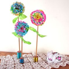 Fun flowers to make with those little bits of leftover fabric. No watering required!