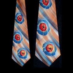 Vintage 40s Hand Painted Towncraft Wide Tie by TheSpectrum on Etsy
