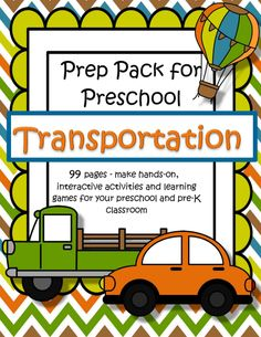 Transportation and vehicles theme for preschool, Pre-K and Kindergarten printables