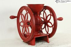Antique Coffee Grinder, Coffee Grinders, Antique Furniture, Furniture Ideas, Red Paint, Black Paper, Vintage Coffee, It Cast, Cast Iron