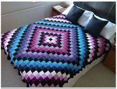 Patchwork Crochet Free Pattern Diamond Design. 钩针编织毯 More Patterns Like This!