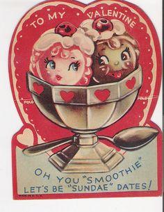 Vintage valentine, cute ice cream sundae.