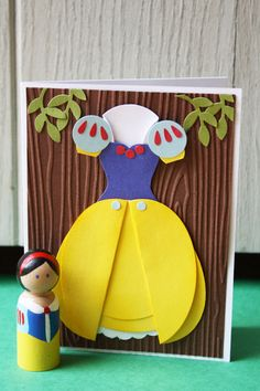 Snow White Princess Party Set - Handmade Card & Wooden Peg Doll