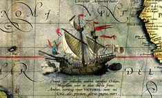 50- Detail from a map of Ortelius (fin XVI°s) - Magellan's ship Victoria - § MAGELLAN - TRAVERSEE DU PACIFIQUE ET MORT DE MAGELLAN (1520-1521). A l'époque de Magellan, la circonférence de la Terre n'est pas encore connue avec précision, malgré le travail d'Erastosthène qui l'avait calculée près de 18 siècles auparavant. Mais Magellan ne sous estime pas la dimension du Pacifique, comme une opinion courante le prétend.