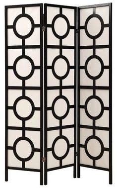 Very chic folding screen looks attractive in any room, Monarch Specialties Monarch 3 Panel Circle Design Folding Screen - Black