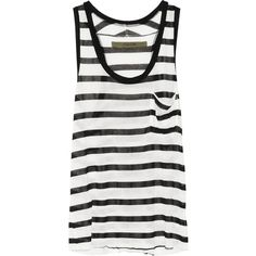 ENZA COSTA Striped modal-blend jersey tank (€56) ❤ liked on Polyvore featuring tops, shirts, tank tops, tanks, ivory, racerback tank, white tank top, stripe shirt, racer back tank and striped tank