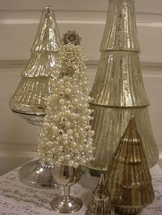 joyworks-shopgirl.blogspot.com - Make a pearl tree to go with mercury glass trees. (more decor to see at site)