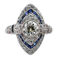 Art Deco Sapphire Diamond Ring   From a unique collection of vintage engagement rings at https://www.1stdibs.com/jewelry/rings/engagement-rings/