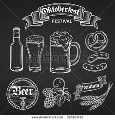 set hand draw decorative beer Oktoberfest white on black Festival de la cerveza. set hand draw decorative beer Oktoberfest white on black Festival de la cerveza. Chalkboard Doodles, Chalkboard Signs, Black Chalkboard, Beer Infographic, Chalk Lettering, Bar Art, Chalk Drawings, Chalk Art, Solid Black
