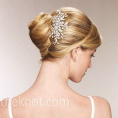 french twist bridal updo hairstyle with diamante clip Elegant Hairstyles, Up Hairstyles, Pretty Hairstyles, Wedding Hairstyles, Classic Hairstyles, Bridal Hair Updo, Wedding Hair And Makeup, Wedding Hair Accessories, Wedding Updo